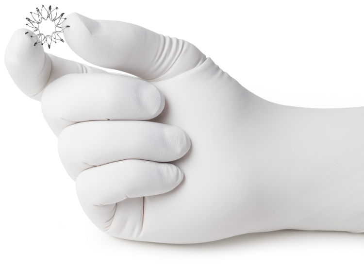 Corvia Atrial Shunt in gloved hand